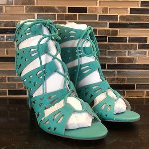 AVON Paula Abdul teal lace up heels